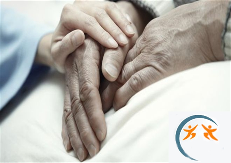 Cloud system support Priory Homecare, closeup elderly hands