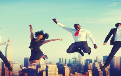 Success celebrate business people jumping